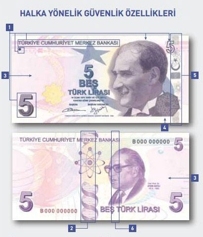 6efdece44bb6 Новая 5-лировая банкнота будет фиолетового цвета. В остальном, размер и  дизайн купюры останется прежним: с одной стороны будет изображен Мустафа  Кемаль ...